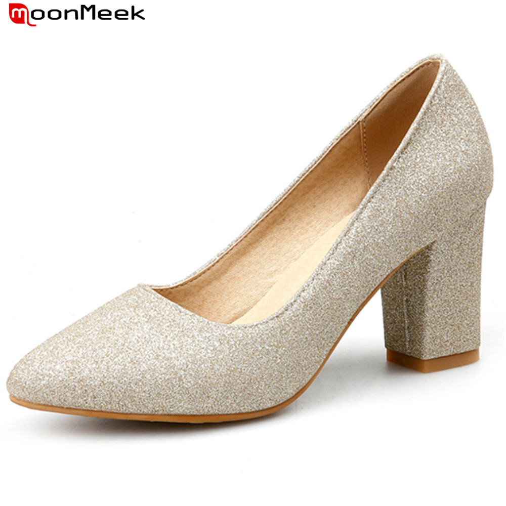 MoonMeek new fashion 2018 spring autumn high heels women shoes square heel sexy pointed toe slip on simple female pupms moonmeek 2018 fashion autumn winter new