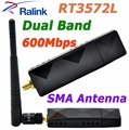 RALINK RT3572 Banda Dual a 600 Mbps Wireless USB WiFi Adaptador con sma 5dbi antena wifi externa para samsung tv/windows 7/8/10