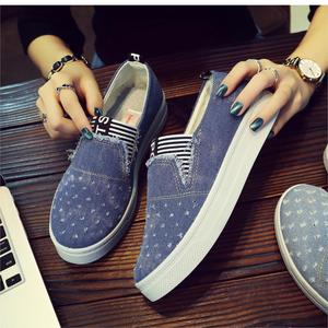 Image 4 - New Flat Shoes Ladies School Canvas Casual Flat Soft And Comfortable Shoes Work Driving Shoes Classical Denim Fabric Lightweight
