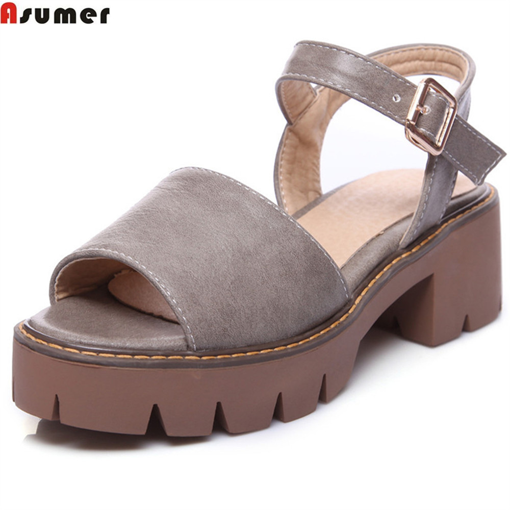ASUMER black white gray peep toe buckle ladies summer shoes square heel platform casual shoes fashion women sandals women creepers shoes 2015 summer breathable white gauze hollow platform shoes women fashion sandals x525 50