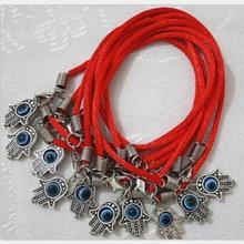 PU Braided Imitation Leather Cord Bracelet With Alloy Silver Kabbalah Fatima Hamsa Hand  Blue Evil-Eye Charms Jewelry 50pcs