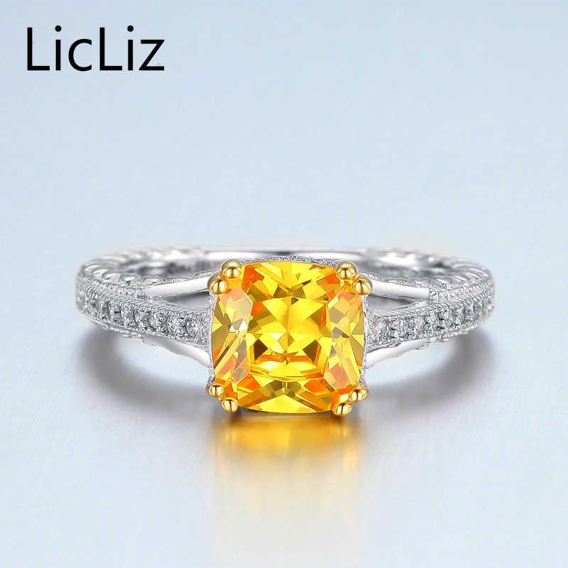 LicLiz 925 เงินสเตอร์ลิงแหวนผู้หญิง Cubic Zirconia แหวน Eternity Solitaire หมั้นแหวนจัดงานแต่งงาน LR0394