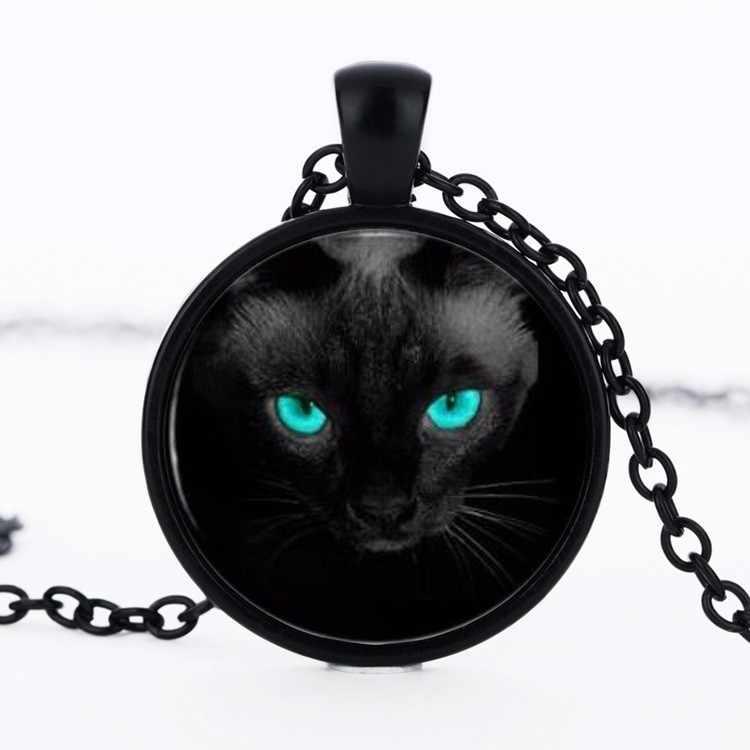 חתול שחור עיניים כחולות זכוכית הקמעונאי מתנת תכשיטי שרשרת קסם אביב קולר שרשראות עגולות אמנות תמונה