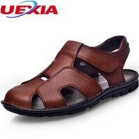 Zomer Outdoor Strand Toevallige Sandalen Mannen Schoenen slip Flats Haak Lus Rubber botto mannen Kwaliteit Eerste Lederen Zapatos Sandalias