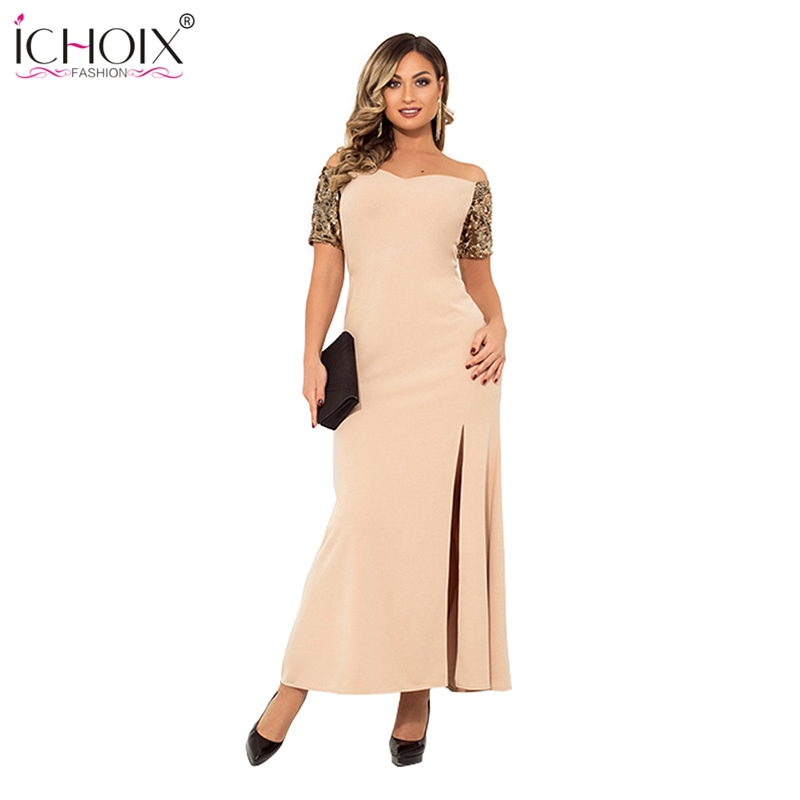 5xl <font><b>6xl</b></font> 2019 Plus Size Summer Long <font><b>Dress</b></font> Elegant Sequin Party Women Maxi <font><b>Dress</b></font> <font><b>Sexy</b></font> Slit Off Shoulder Big Large Bodycon Vestidos image