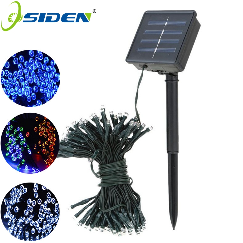 22M 200led Solar Led-stränglampa 12M 100LED RGB enkelfärg Dekorationslampa för julgran Garden Light Holiday Outdoor Fairy