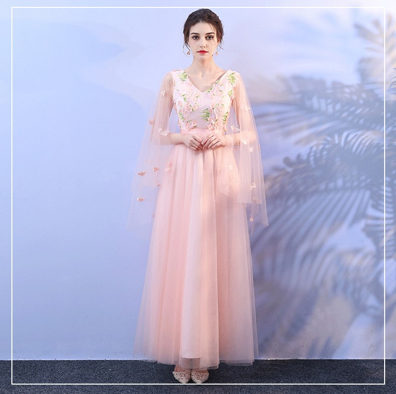 Irregular Sleeve Wedding Party Dresses For Women Floral Long Dress Bridesmaid Dresses Pink Colour Back Of Bandage