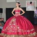 Venda Hot Red Vestidos Quinceanera Com Bordado vestido de Baile Vestidos de Baile Vestidos de Concurso de Beleza vestidos de 15 anos Frete Grátis