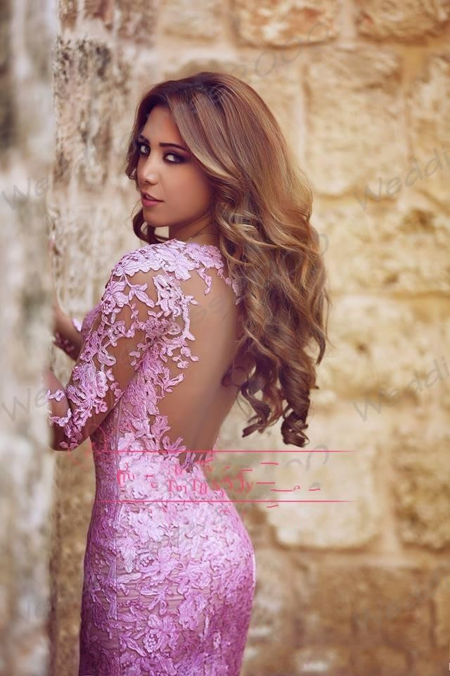 2015 Hot Beauty Pink Mermaid Prom Dresses Applique Lace Sheer Long Sleeve  Tulle Long Party Gowns Backless GL-in Prom Dresses from Weddings   Events on  ... 168dbf21d911