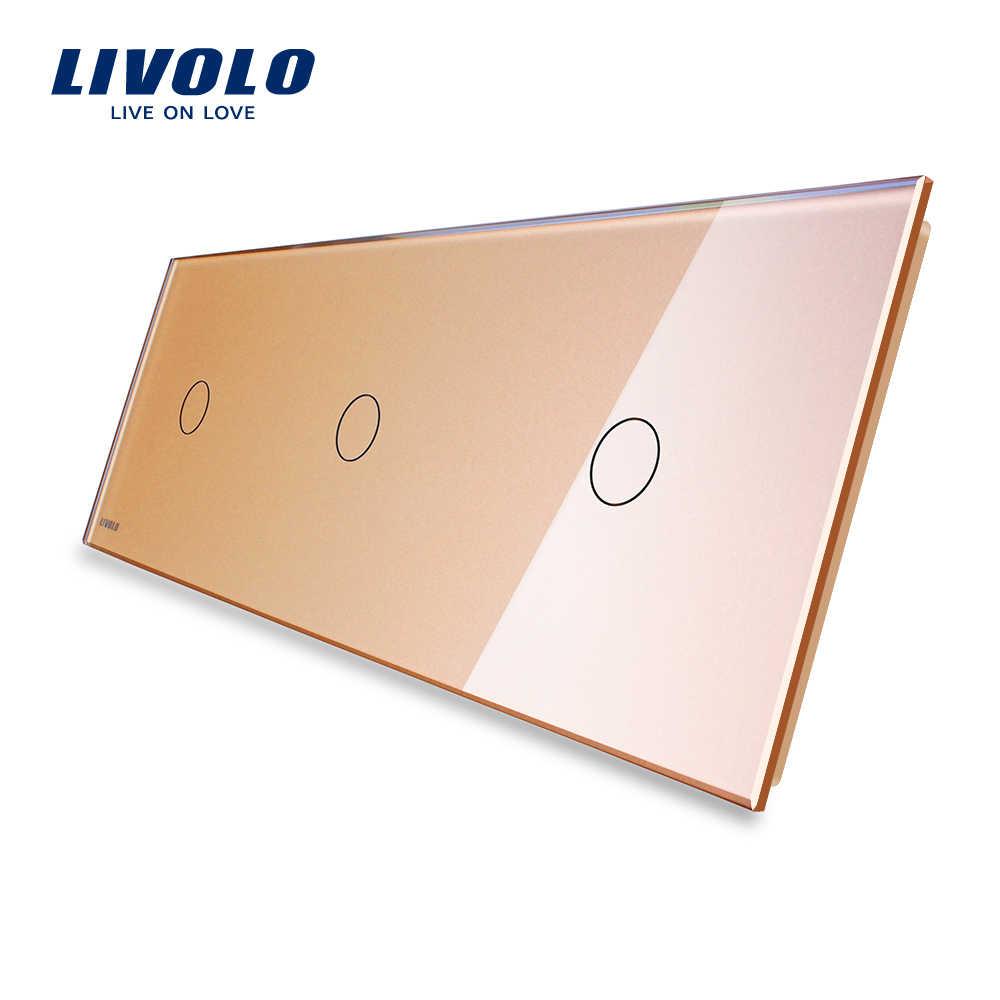 Livolo роскошное белое жемчужное Хрустальное стекло, 222 мм * 80 мм, стандарт ЕС, тройная стеклянная панель, VL-C7-C1/C1/C1-11 (4 цвета)