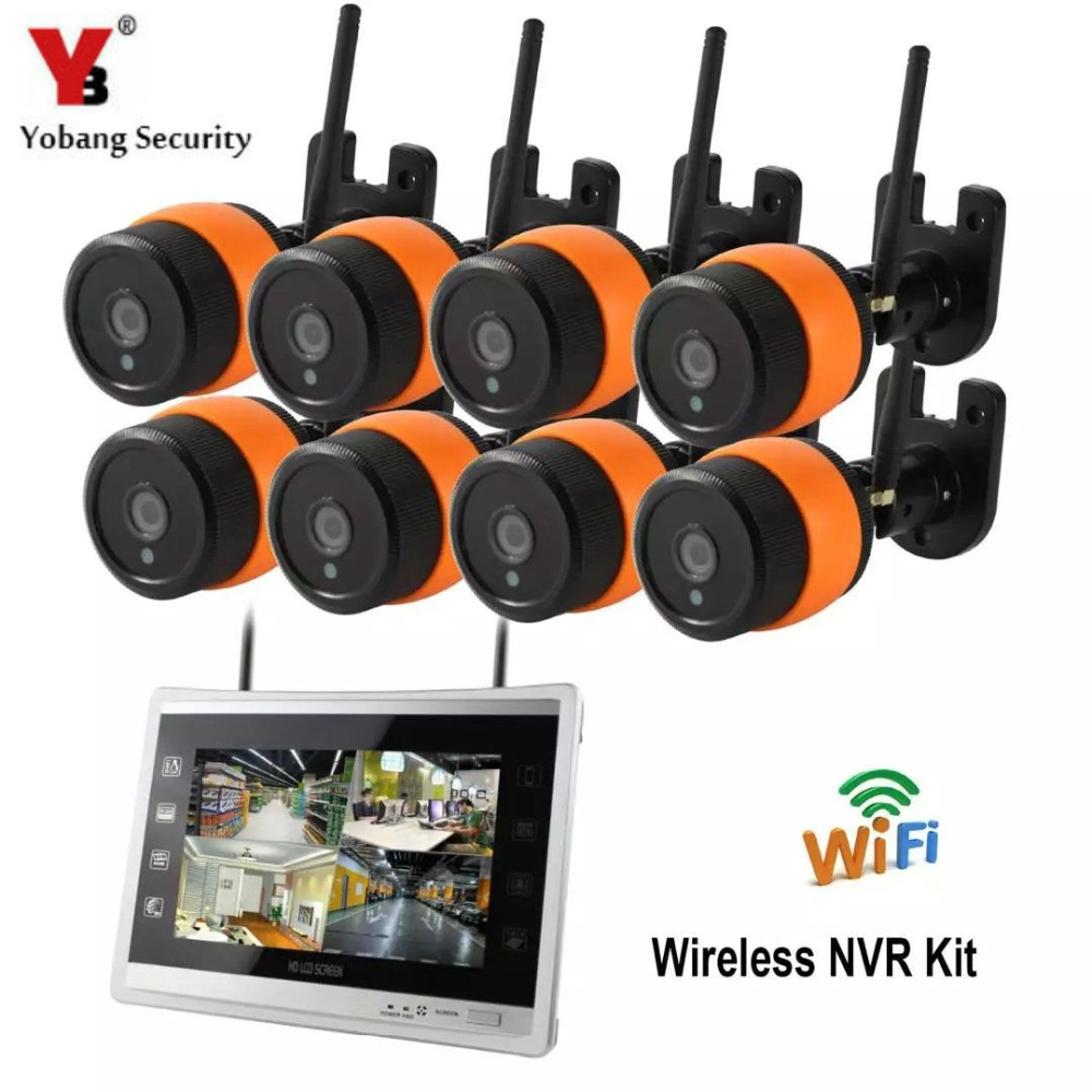 YobangSecurity 11 inch Monitor 960P 8CH HD Wireless WIFI NVR kit Outdoor IR Night Vision IP Wifi Bullet Camera Security System yobangsecurity 960p wifi wireless security camera for baby elder pet nanny monitor with night vision