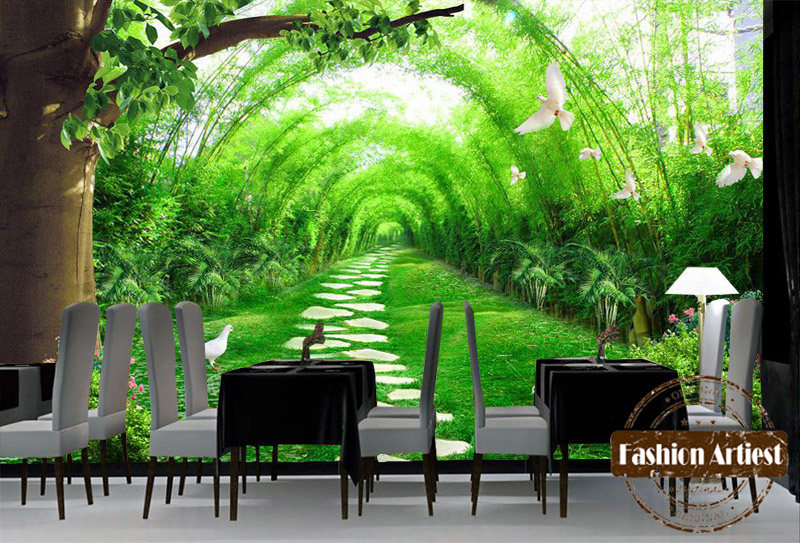 Buy custom 3d pigeon bamboo forest for Bamboo forest mural wallpaper