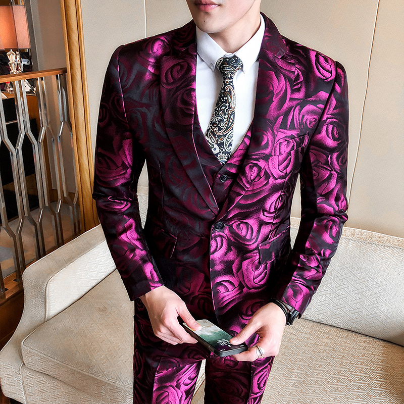 2019 New Spring Men's Suits Mens Fashion Business Casual Print Silm Wedding 3 Piece Suit Blazer With Pants Vest Large Size 5XL