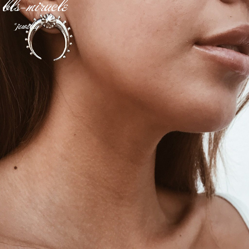 bls miracle New Fashion jewelry classic alloy two color vintage moon stud earrings best wholesale E473