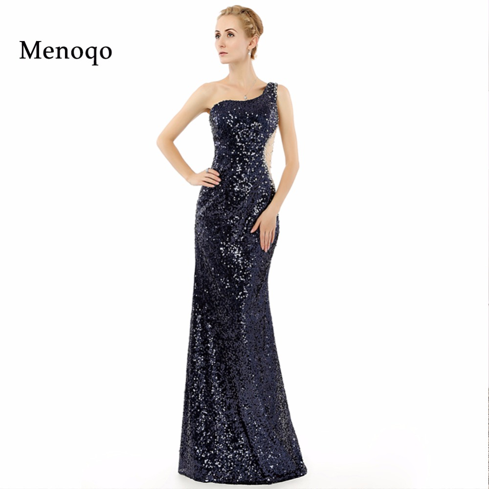 Abendkleider Floor length Long   Prom     Dresses   Real Picture 2019 Sexy One shoulder Beaded Gown Sequins lace vestidos de fiesta