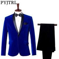 (Jacket + Pants) Groom Tuxedo Dress Costume Studio Sapphire Royal Blue Velvet Slim Fit Suit Wedding Suits For Men