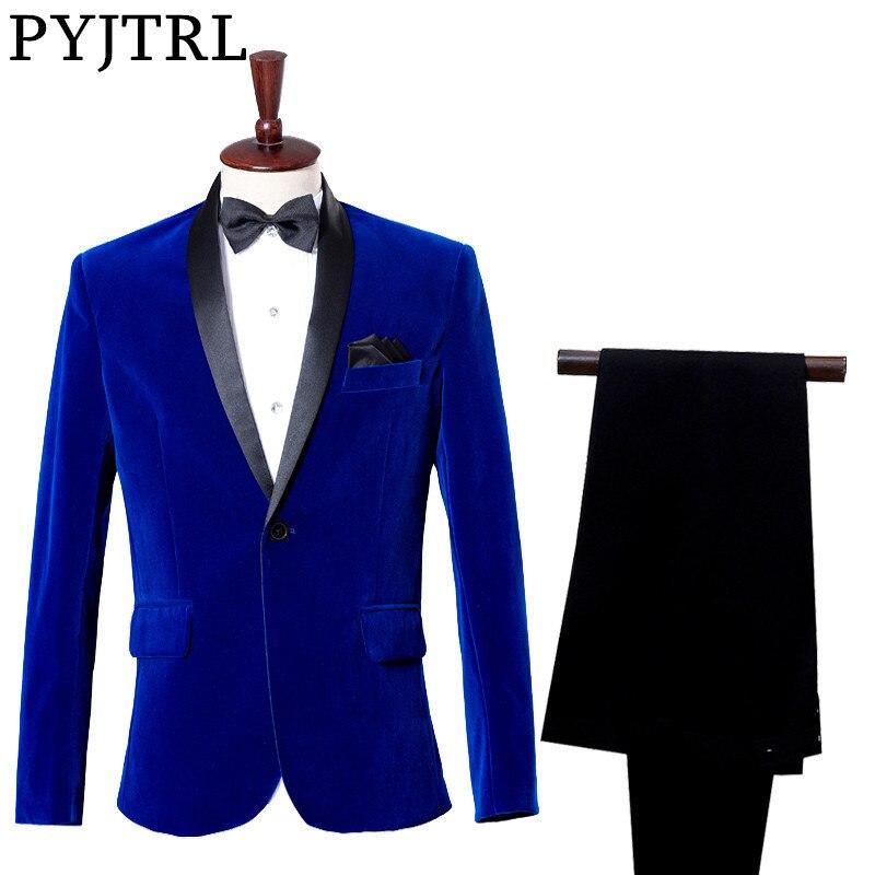 (giacca + Pantaloni) Groom Tuxedo Dress Costume Studio Di Zaffiro Royal Blue Velvet Slim Fit Vestito Di Nozze Per Gli Uomini Tecniche Moderne