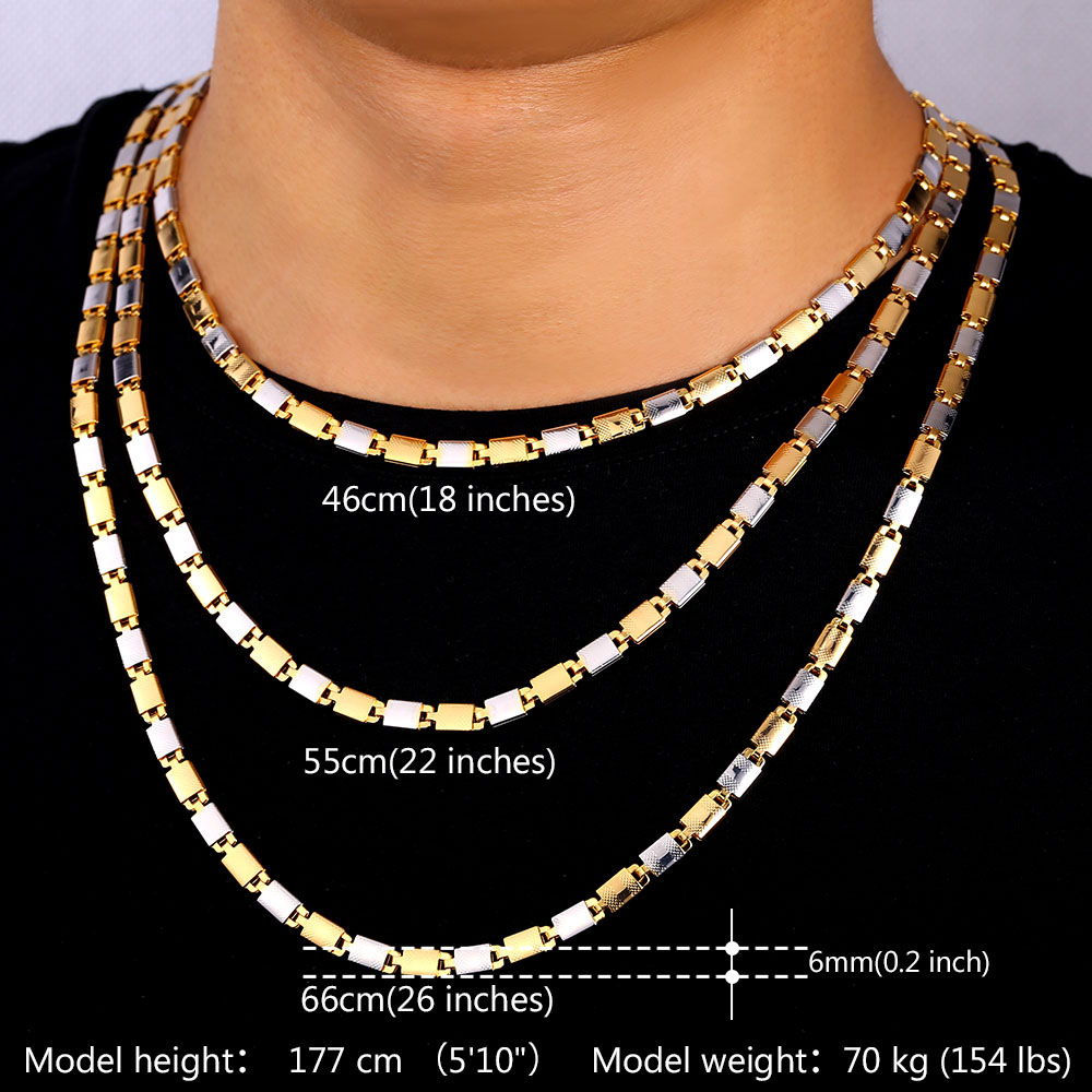 U7 gold color chain necklace set unisex jewelry wholesale for Cheap gold jewelry near me
