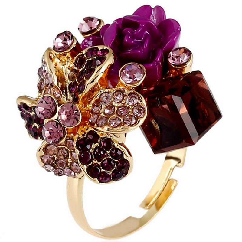 8 Colors Flower Open Ring For Women Hot Sale Crystal Fashion Party Ring Colorful Jewelry Trendy Resin Adjustable Women's Ring