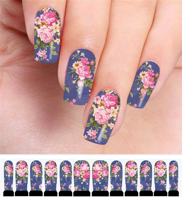 4pcs flower stickers for nails manicure water transfer nail 4pcs flower stickers for nails manicure water transfer nail stickers decoration nail art ornament for nail prinsesfo Gallery