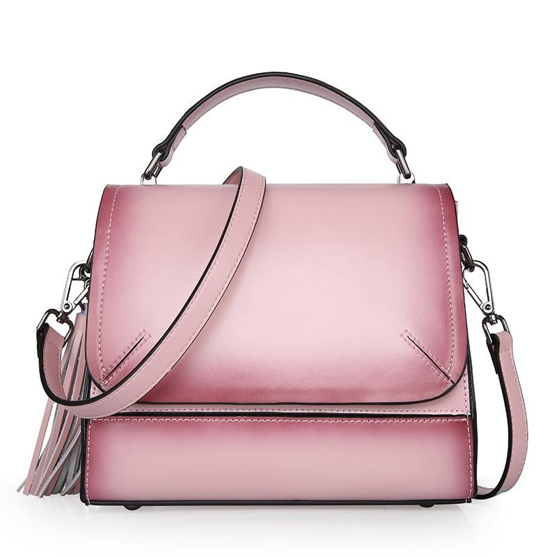 2017 Vintage Women Lady Genuine Leather Soft Tassel Cover Handbags Fashion Handbag Casual Tote Cross Body Bag Messenger Bags