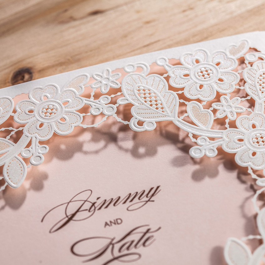 Wishmade Laser Cut Wedding Invitations Cards With White Square Hollow Flora For Engagement Invitation ,Customizable,50pcs/lot