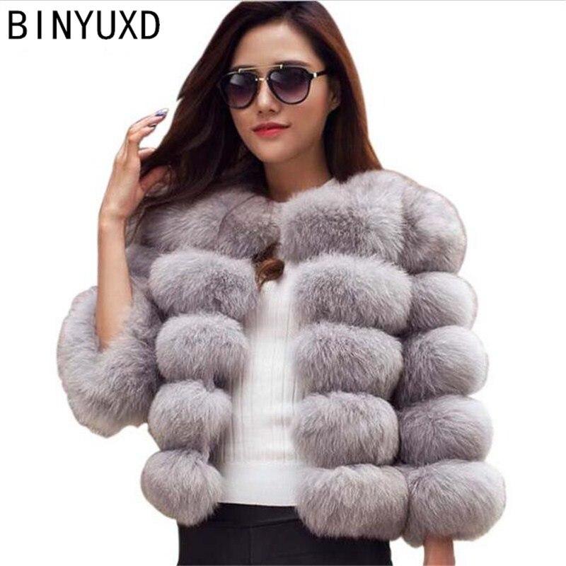 Nouveau renard fausse fourrure vison manteau femmes 2016 hiver nouveau mode mince court femme pardessus fausse fourrure manteaux Mex manteau Chaquetas Mujer