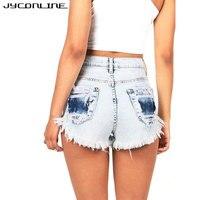 JYConline Vintage Denim Shorts Women Tassle Ripped Short Jeans Female 2017 Summer High Waist Shorts Punk