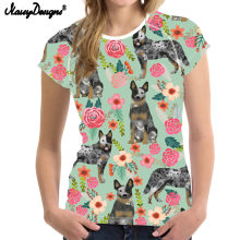 NoisyDesigns Australian Cattle Dog Florals Cream camiseta femenina Harajuku mujeres camiseta Casual manga corta Camisetas Camise delgadas(China)