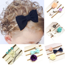 girls hair accessories 3Pcs/set Kids Girl Baby Toddler Bowknot Headband Hair Band Headwear Baby Girls Bow motifs Hairbands 2018(China)
