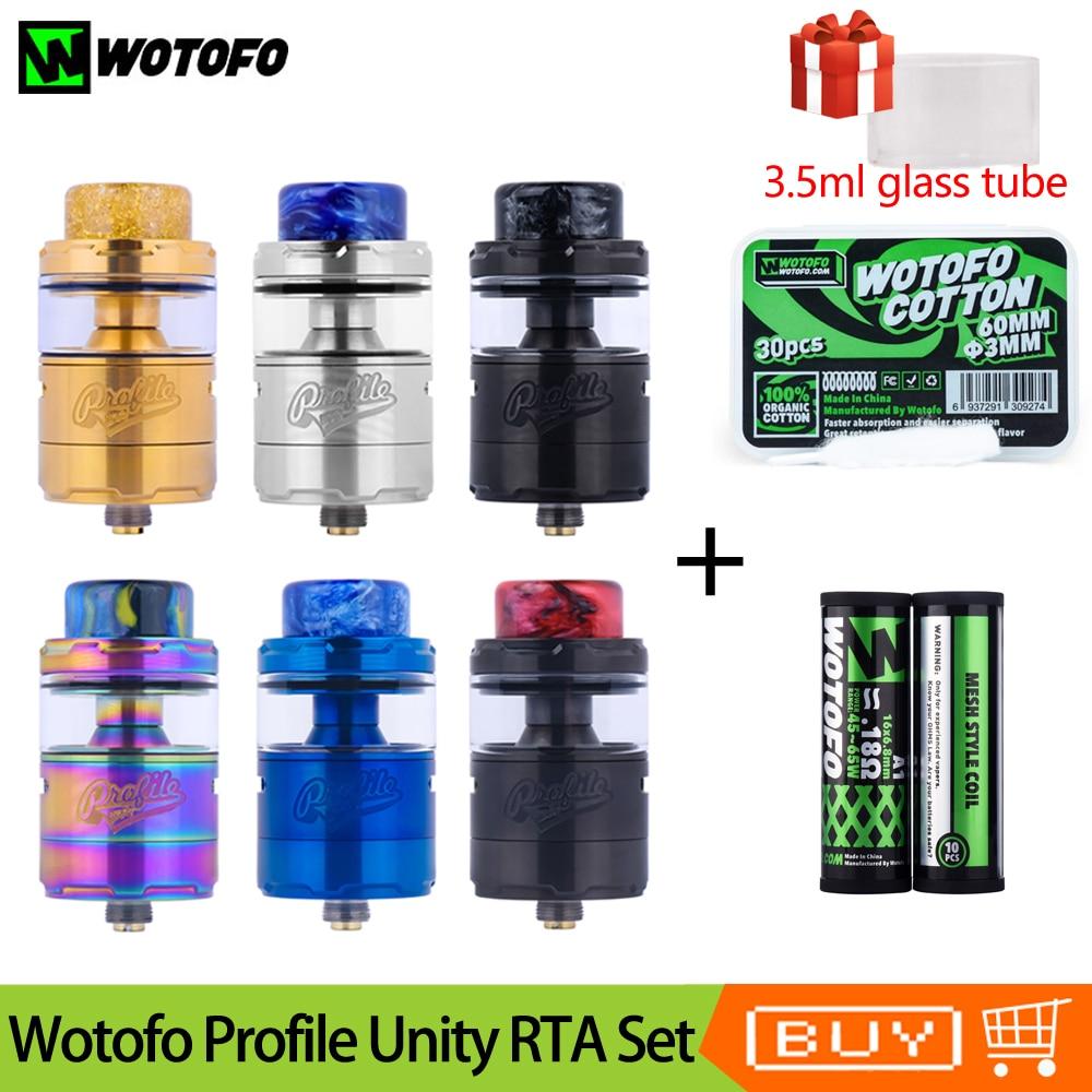 Original Wotofo Profile Unity RTA Vape Tank Atomizer With 0 18ohm A1 Mesh Coil Profile Cotton