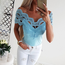 Kimuise patchwork lace t-shirts for women short sleeve slash neck sexy streetwear Tees 2019 summer harajuku female top shirts