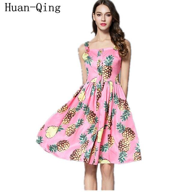 Summer Women 2017 Beach Dress Vintage Runway Sleeveless Pineapple ...