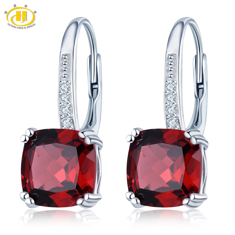 Hutang 8mm Natural Stone Garnet Drop Earrings Gemstone 925 Sterling Silver Fine Jewelry for Women Girls