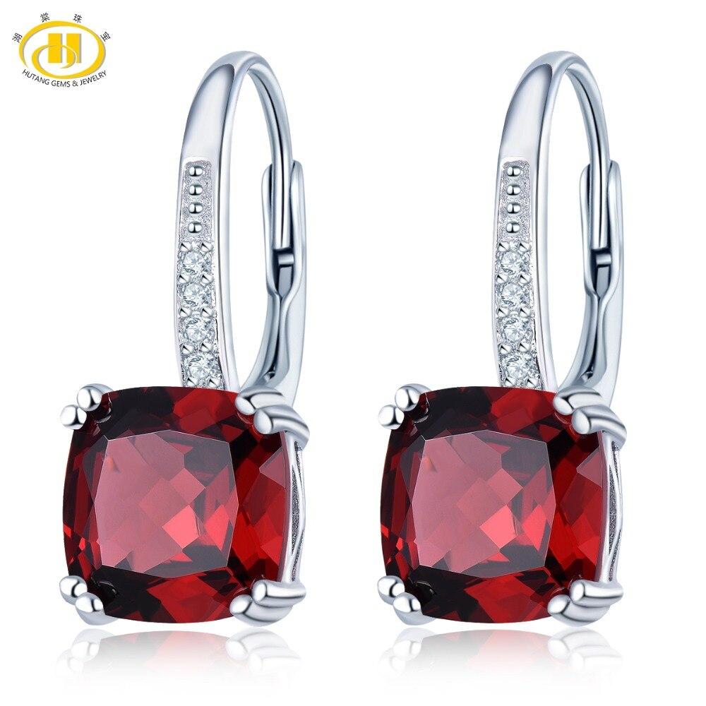 Hutang 5.20ct naturel grenat femmes boucles d'oreilles goutte rouge pierre précieuse solide 925 en argent Sterling Fine classique bijoux nouveauté cadeau