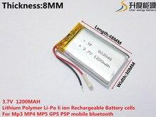L energy 3.7V lithium polymer battery 803048 1200MAH GPS navigator PSP game sound card