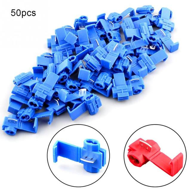 50Pcs Electrical Wire Cable Crimp Terminals Insulated Quick Splice Scotch Lock Red 22-18 AWG Blue 18-14 AWG Connectors