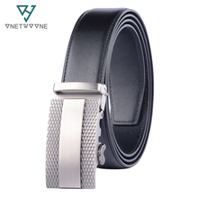 Brand Mens Leather Genuine Belt Black Fashion Alloy Luxury Automatic Buckle Youth Simple Business 3.5 cm