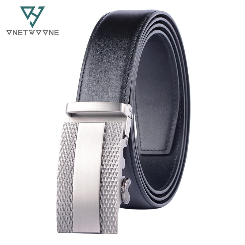 Men's Belt Cow Leather Belts Brand Fashion Automatic Buckle Black Genuine Leather Belts for Men 3.5cm Width 135cm Adjustable