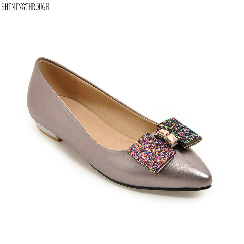 New Plus Size Spring\Autumn Shoes Woman Flats Work Classics Fashion Bowknot Female Casual Ballet Ladies Shoes beyarne rivets decoration brand shoes flats women spring autumn fashion womens flats boat shoes sexy ladies plus size 11