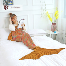 Liv-Esthete Fashion Yellow Mermaid Throw Blanket Knitted Handmade Blanket Super Sofa Best Gift For Adult Kids Child Blanket