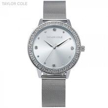 Taylor Cole Brand Fashion Watches Women Luxury Round Silver Crystal Wri
