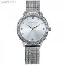 Taylor Cole Brand Fashion Watches Women Luxury Round Silver