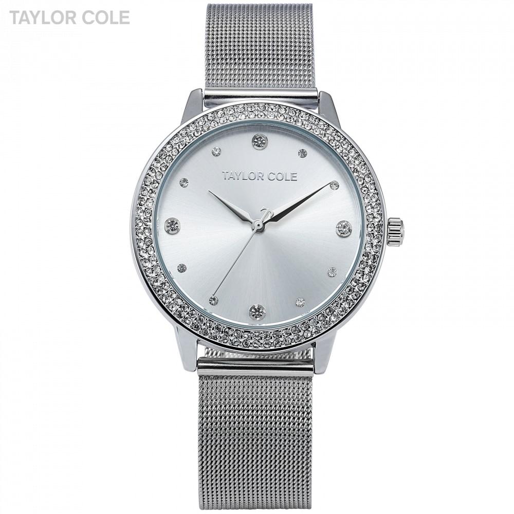 Taylor Cole Brand Fashion Watches Women Luxury Round Silver Crystal Wrist Watches Ladies Dress Chain Quartz Watch Clock / TC070
