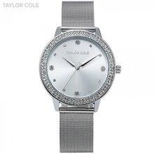 Taylor Cole marca moda relojes mujeres de lujo de plata Pulsera de cristal relojes  señoras vestido cuarzo reloj tc070 66f882075155