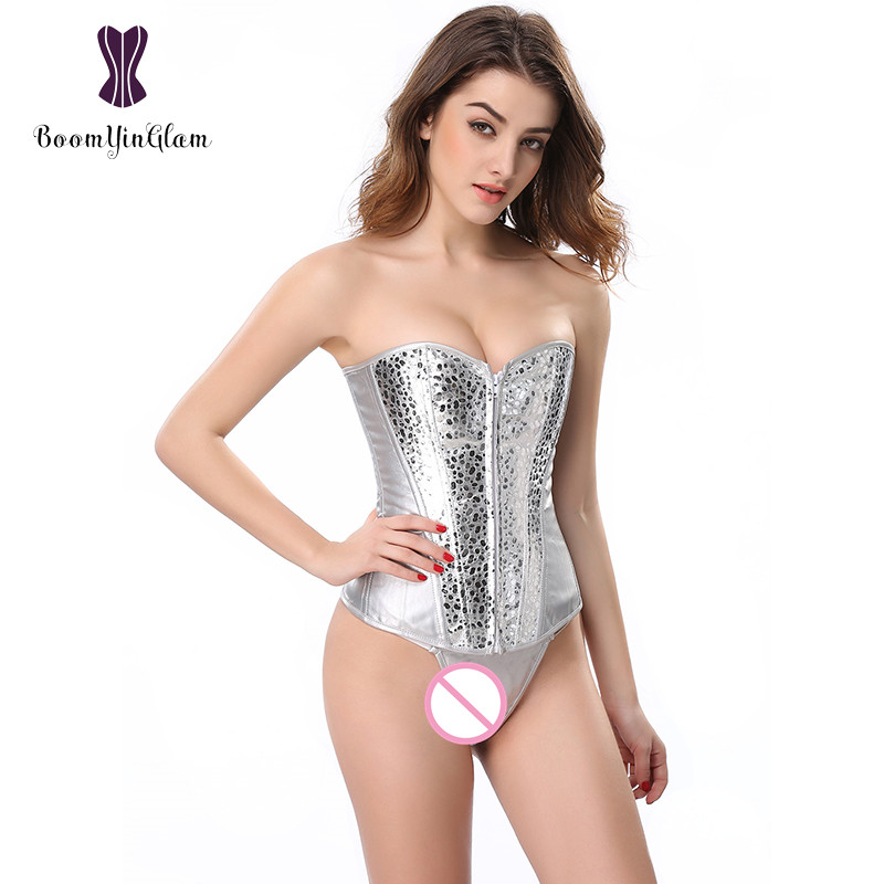 Wholesale price high quality silver front zip body shaperwear slimming waist shaper sequin sexy   bustiers   &   corsets   856#