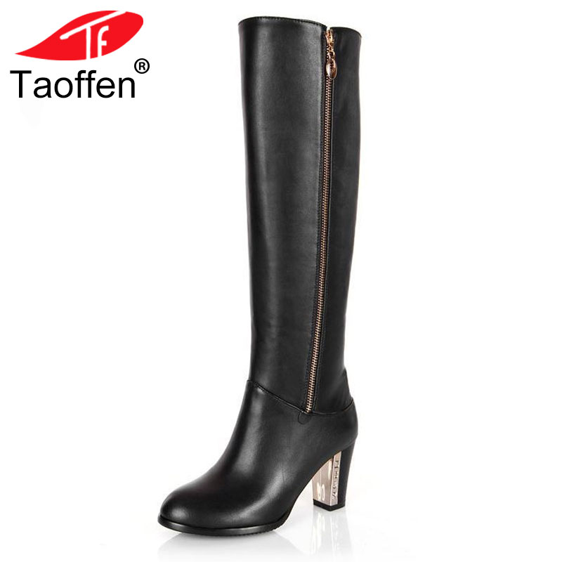TAOFFEN Free shipping over knee natrual real genuine leather high heel boots women snow winter warm shoes R4642 EUR size 31-43 free shipping over knee high heel boots women snow fashion winter warm footwear shoes boot p15646 eur size 30 49
