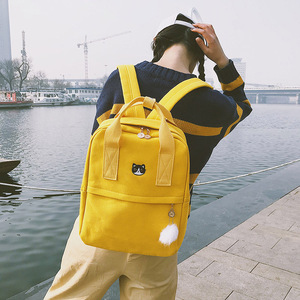 Image 2 - New Cute Canvas Backpack Fashion Women Backpack For School Teenagers Girls Big Capacity Yellow Travel Bag Female Bookbag Mochila