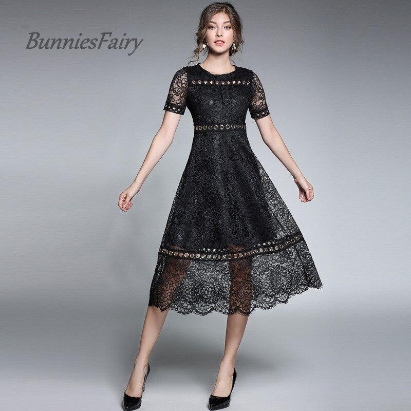 03151eb119 BunniesFairy 2017 Outono Chegada Nova Oco Out Lace Sólidos Metal Fivela  Stiching Vestido Robe Feminino Do Vintage Vestidos de Fiesta em Vestidos de  Roupas ...