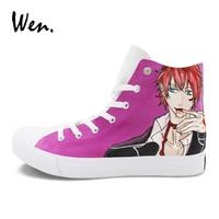 Wen Men Women Sneakers Purple Painting Custom Design Anime Diabolik Lovers Hand Painted Canvas Shoes High